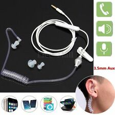 3.5mm Spiral Coil Hollow Air Tube Headphone Anti-radiation Headset Earphone Mic