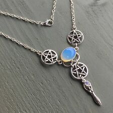 Opalite, Rainbow Moonstone Pentagram Goddess Silver Plated Necklace Wicca Pagan