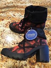NEW Women PALLADIUM Baggy Heel TW P Black Red Pink Roses Canvas Boots US 7 SALE!