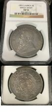Rare 1892 South Africa Large silver 5 shillings Single Shaft- Kruger- NGC AU 53