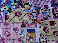 """50 x 4"""" 100% Cotton Fabric Sweet Shop Bundle patchwork squares~ Quilting"""