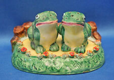 Rare vintage CUTE FROGS w/GARDEN POND TRAY salt+pepper set Signed script Japan