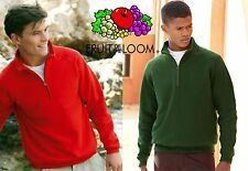 FELPA  FRUIT OF THE LOOM felpa uomo MEZZA ZIP cerniera corta da S a XXL $