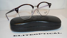 New Authentic RAY BAN CLUBMASTER Havana Lavender/Clear RB4246-V 5240 49 19 140