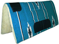 NEW Turquoise Blue Western Stock Saddle Thick Fleece Pad Blanket Navajo Leather