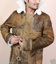 Mens WW2 Aviator Distressed Handmade Shearling Real Leather Trench Coat Jacket