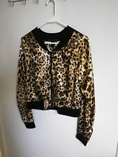 LOVE TO LIVE GIRLS Juniors LARGE Animal print ZIPPER JACKET TOP COAT SILKY SHINY
