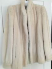 Creamy White mink fur coat stand collar female pelts size 6-8 Gorgeous!