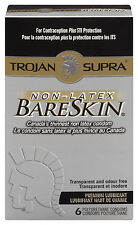 NEW TROJAN BARESKIN SUPRA ULTRA THIN CONDOMS LUBRICATED NON LATEX 6 PACK