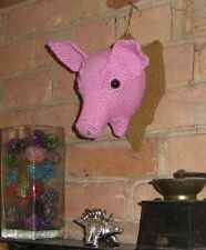PRINTED INSTRUCTIONS -WALL MOUNTED PIG'S HEAD ANIMAL KNITTING YARN PATTERN
