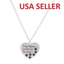 Dogs Leave Prints on My Heart Paws Pet Animal Charm Pendant Necklace Jewelry