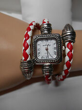 Ladies Fashion Watch, Red  and White Braided Coiled Leather Band, Square Face