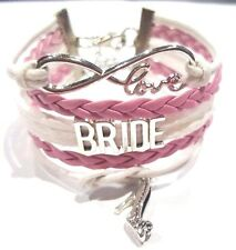 Rope Braided Infinity Love Bride Bracelet w Shoe charm Pink & White