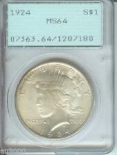 1924 PEACE SILVER DOLLAR PCGS MS64 MS-64 First Generation RATTLER HOLDER