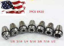 New 7Pcs ER20 Spring Collet Set For CNC Milling Lathe Tool Engraving Machine