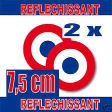 Lot 2 Cocardes Rétro-Réfléchissantes  75mm STICKER inch = 3 REFLECTIV