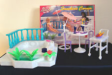 FANCY LIFE DOLLHOUSE FURNITURE SUNSHINE CORNER W/ POOL PLAYSET FOR BARBIE