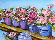 Flowers in a Row Stillife Detailed ACEO ORIGINAL Oil Miniature Painting