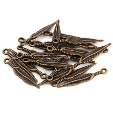WHOLESALE 20 Pcs Tibetan Silver Long Feather Leaf  Charm Pendant Jewelry Finding