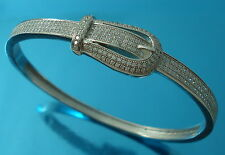 925 Sterling Silver Bangle Bracelet CZ Belt Buckle Oval 58 x50 mm UK Hallmarked