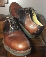 LL BEAN L.L. Bean Men's Saddle Shoes Oxfords Wing Tips 11 Brown Leather