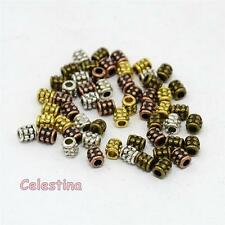 50 x 4mm Tube Spacer Beads - Mixed Colours Gold Silver Bronze Copper -  SP104