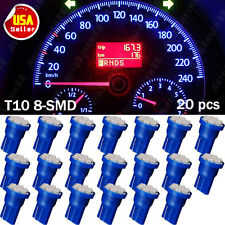 20X ULTRA BLUE T10 W5W 158 192 2825 8-SMD LED Wedge Side Instrument Panel Light