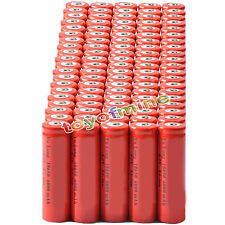 100x 4.2V 18650 Li-ion 6000mAh Red Rechargeable Battery for LED Torch
