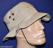 Men's Beige Hunting Fishing Hiking Sun Hat Outdoor Cap Bucket Boonie Size L B01