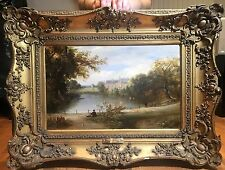 Fine Original Antique 18th Century French OLD MASTER OIL PAINTING Romantic Scene