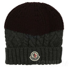 NEW MONCLER GRAY/BURGUNDY 100% WOOL CABLE KNIT BEANIE SKULL HAT ONE SIZE