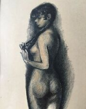 VTG 1954 Original Drawing Of Nude Young Woman Artist Signed Paul Ramon Shade.