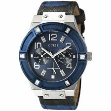 Guess Women's Iconic Blue Sparkle Denim Camo Multi-Function Watch - U0458L2