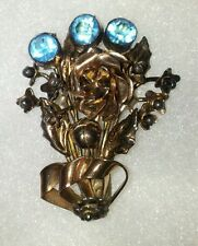 Vintage Signed Hobe 14K on Sterling Bouquet and Ribbon 3 Blue Stones Brooch Pin