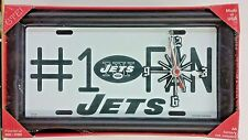NFL, #1 Fan License Plate Clock, New York Jets (White) New