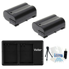 2X EN-EL15 ENEL15 Replacement Battery and USB Dual Charger for Nikon D7100 D7200