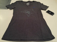 Toronto Blue Jays MLB Baseball XXL Ladies Women V Neck Grey on Grey T Shirt Top