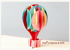 Lovely 3D Handmade Hot Air Balloon Birthday Card Unique Kirigami NEW UK Stock