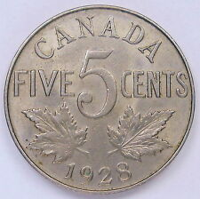 1928 Five Cents EF ** Beautiful HIGH Grade Original King George V Canada Nickel