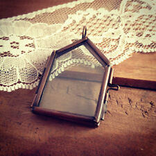 House Two-Sided Glass Frame Pendant Hinged Locket Charm & Necklace Vintage Style