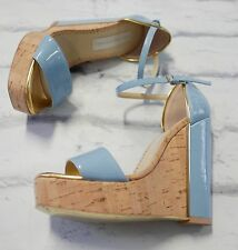 Eco Chic: Stella McCartney Pale Blue Patent & Cork Wedges Sandals IT36/UK3