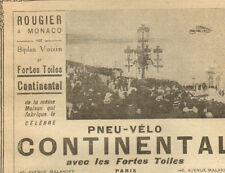 MONACO ROUGIER SUR BIPLAN VOISIN PUBLICITE PNEU VELO CONTINENTAL 1909