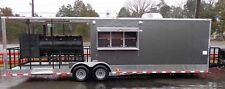 Concession Trailer 8.5'x30' BBQ Smoker Food Vending (Charcoal Grey)