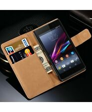 Genuine Leather Wallet Stand Case Cover for Sony Xperia Z1 Compact Mini Experia