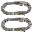 2PACK Silver 18 ft foot 1/4 right angle to straight guitar instrument cable cord