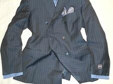 NWT IKE BEHAR Mens Navy Striped Peaked Lapel 6x2 DB 100% Wool Suit 46R 42W