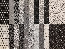 "JELLY ROLL STRIPS - BLACK and WHITE Mini Jelly Roll Strips - 20 x 2.5"" x WOF"