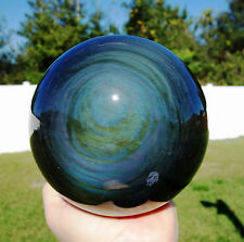 RAINBOW Obsidian with Dual Bulls Eyes Sphere Scrying Mirror Gazing CRYSTAL Ball
