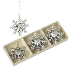 Box Six Metal Silver Snowflake Christmas Decorations by Heaven Sends