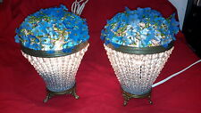 Antique Czechoslovakin Flower Baskets Glass Beaded Lamps Rare Find!
